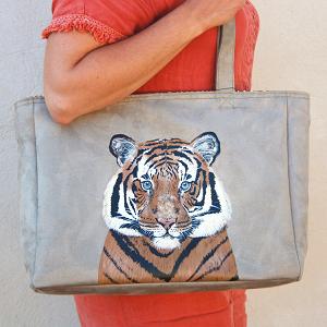Sac cabas peint main tigre La Kitsch Lorraine