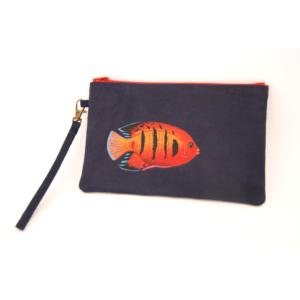 Pochette peint main suédine marine poisson rouge kitsch lorraine 5