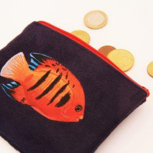 Porte monnaie peint main suédine marine poisson rouge kitsch lorraine 3