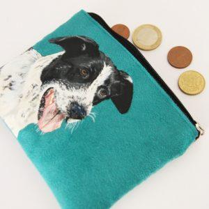 porte monnaie peint main suédine turquoise chien chasse kitsch lorraine 2