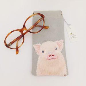 Etui lunettes peint main suédine grise Lulu le cochon kitsch lorraine 6