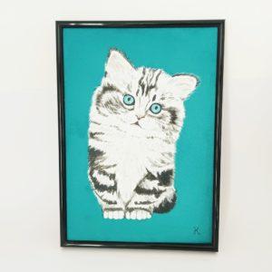 Portrait animal compagnie personnalisé sur suédine turquoise petit chat peint main kitsch lorraine 8