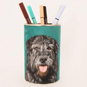 Pot crayons personnalisé peint main suédine turquoise chien Kitsch lorraine 3