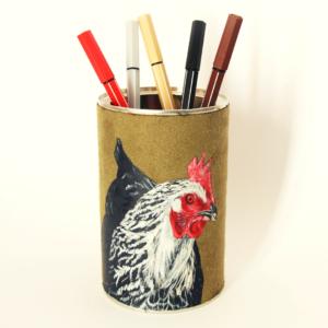 Pot à crayons peint main suédine kaki Babette la poule kitsch lorraine 4