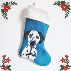 Chaussette de Noël suédine personnalisée portrait animal peint main kitsch lorraine 47
