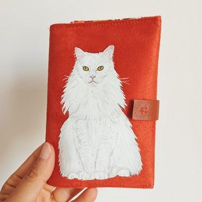 Portefeuille peint main chat blanc kitsch lorraine