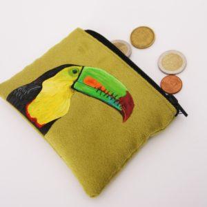 porte monnaie peint main Adélaïde le toucan kitsch lorraine 1