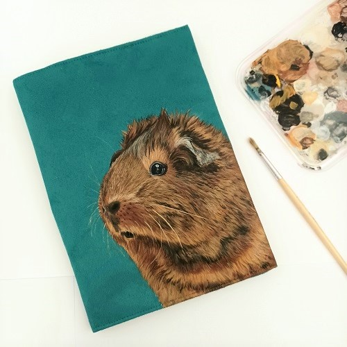 protege cahier peint main cochon d'inde kitsch lorraine